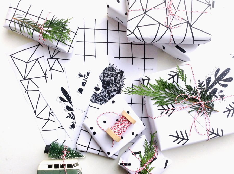 { XMAS DIY } Wrapping maison (free printables en 5 versions)